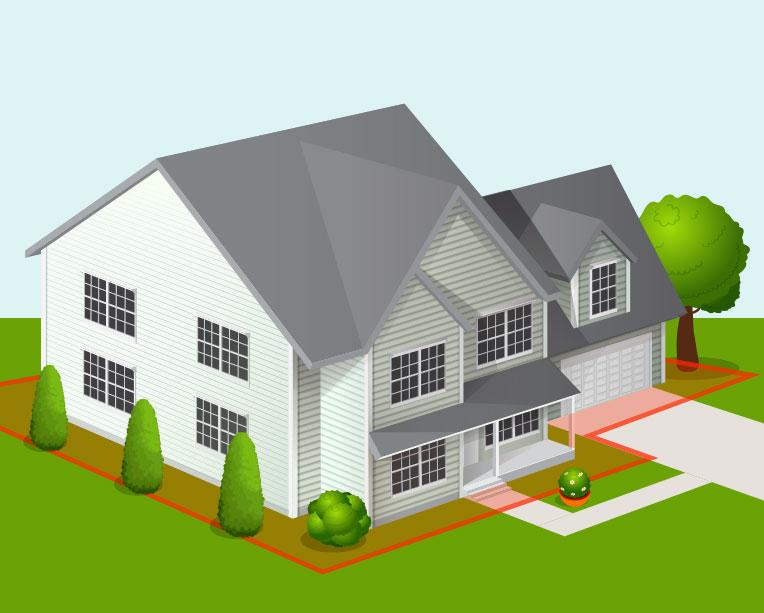 animated house with red border and green grass