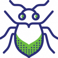 green and blue beetle logo