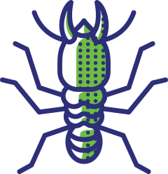 green and blue termite logo